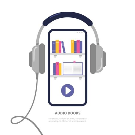 Concept with a mobile phone and headphones. Digital library with audiobooks, podcasts, and courses. Vector illustration in a modern flat style. Ilustração