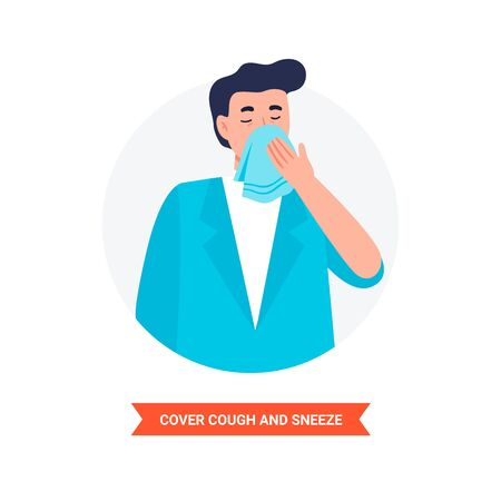 Virus prevention and protection. Cover cough and sneeze. Coronavirus alert. Isolated vector illustration in flat cartoon style.