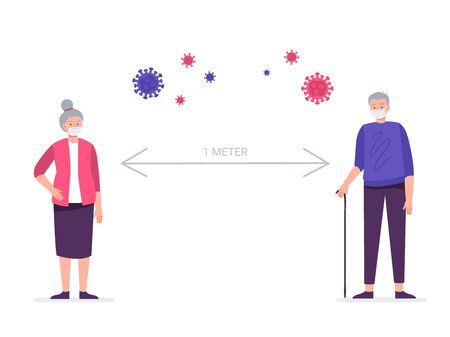 Social distancing, keep distance in public society people to protect from COVID-19 coronavirus. Aged people keep a distance. Vector flat illustration on white background.