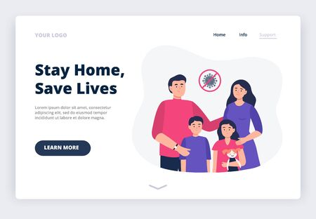 Stay home. Social media campaign and coronavirus prevention. A landing page with a family at home. All happy family - father, mother, and kids stay home. Vector flat illustration.