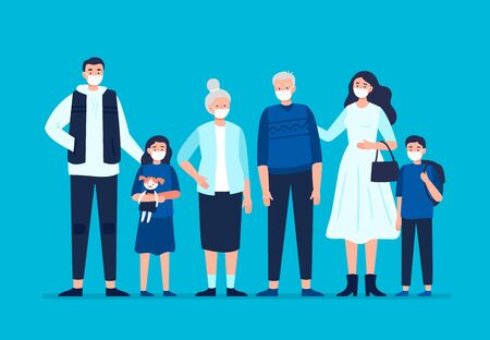 Family wearing a protective medical mask to prevent disease, flu, air pollution, and contaminated air. Dad, mom, daughter, son, grandmom, granddad wearing a surgical mask. Vector flat illustration. Ilustración de vector