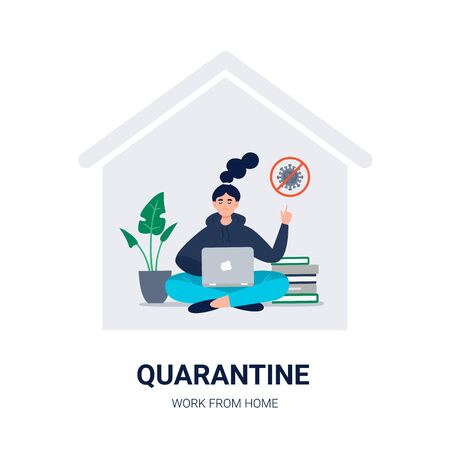 Stay home. Social media campaign and coronavirus prevention. A young woman keeps calm and works at home. Vector flat illustration for blogs, social media, web sites, and others. Ilustração