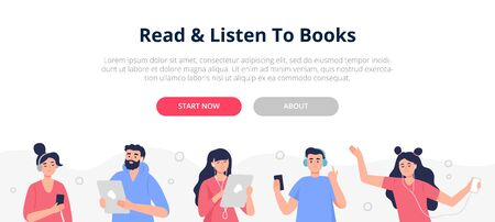 Banner with people who like listening to audiobooks, podcasts, and online courses. Vector illustration in a modern flat style.