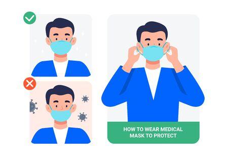 Hombre que presenta el método correcto de usar una máscara, para reducir la propagación de gérmenes, virus y bacterias. Detén la infección. Concepto de salud. Ilustración de vector de estilo plano.
