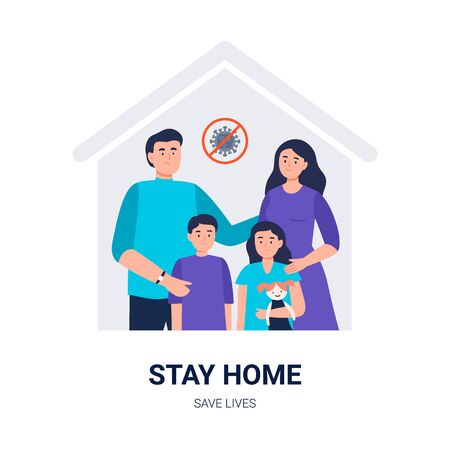 Stay home. Social media campaign and coronavirus prevention. A family keeps calm and stays at home. All family - father, mother, and kids stay home. Vector flat illustration for blogs, social media, web sites, and others.