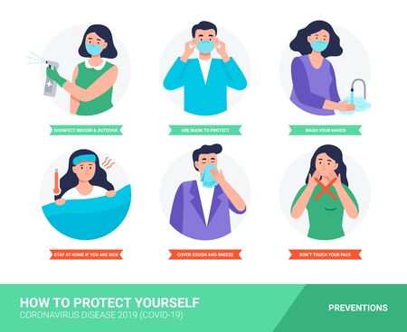 Coronavirus disease protection tips. Infographic with preventions. Set of isolated vector illustration in cartoon flat style. Vecteurs