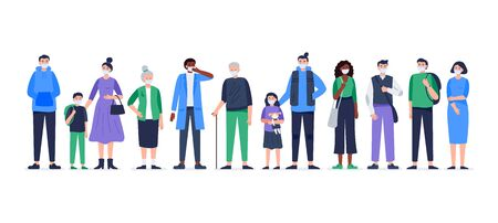 Multicultural group of people wearing medical masks to prevent disease, flu, air pollution, and contaminated air. Vector flat illustration.