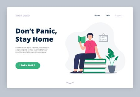 Stay home. Social media campaign and coronavirus prevention. A landing page with a young man at home. A happy man read books, studies at home around paper books and plants. Vector flat illustration. Ilustração