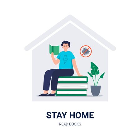 Stay home. Social media campaign and coronavirus prevention. A young man read books, studies at home around paper books and plants. Vector flat illustration for blogs, social media, web sites, and others.