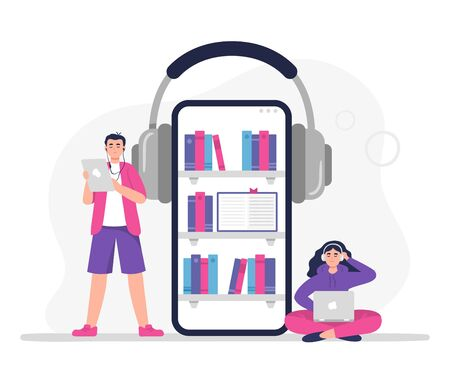 Man and woman listen to audiobooks. Vector concept in a modern flat style can be used on the web pages, apps, banners.  イラスト・ベクター素材