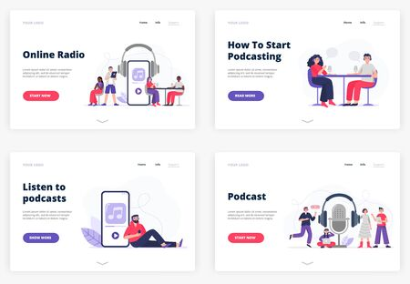 Flat vector Illustrations for landing page templates. A listener with headphones. Man and woman start podcasting. The cool team gets ready to be on air. Radio hosts recording podcasts.