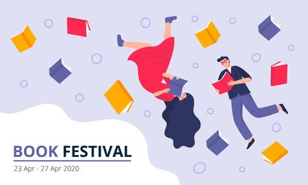 Book festival concept. Young men and women dressed in stylish clothes, flying in book space and reading. Colorful vector illustration for literary or festival writers, event promoters.