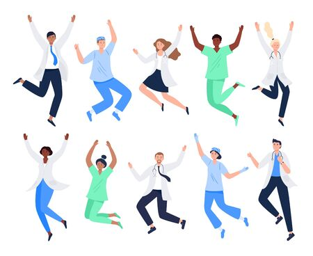 Set of happy medicine workers. Multicultural men and women jumping with raised hands in various poses. Doctors, surgeons, nurses rejoicing together. Characters in vector flat style. Vektorové ilustrace