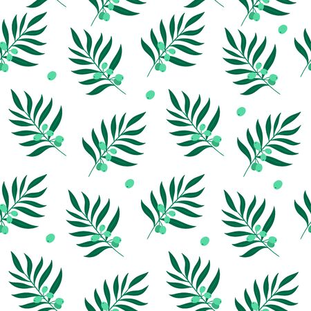 Hand-drawn green olive leaves. Vector seamless pattern on white background.
