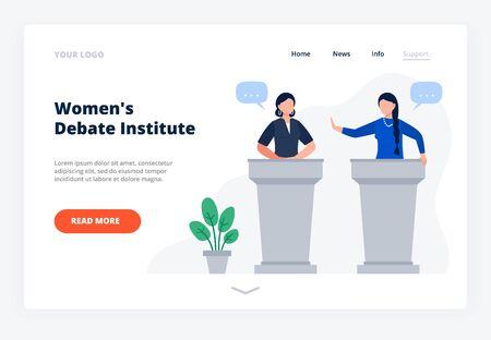 Women debate on tribunes. The concept of education public speaking for women. Website landing page. Flat Vector Illustration.