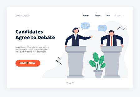 Man and woman candidates stand on tribunes. Debates concept for promotion and active political discussion. Pre-election campaign website landing page. Flat Vector Illustration.
