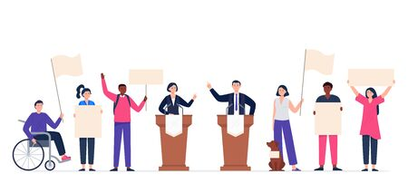 Political meeting with candidates. Pre-election campaign concept. Multinational people with support banners. Man and woman voters. Flat vector illustration.