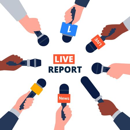 Journalism, live report, breaking news concept. Hands with colorful microphones. Flat vector illustration. Vetores