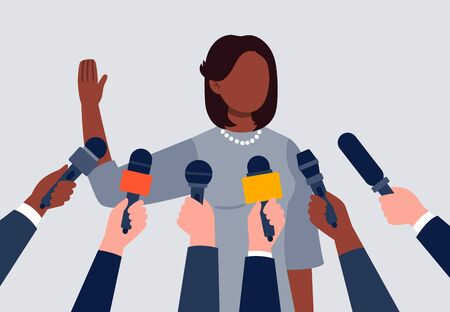 Live report, live news concept. An african-american woman giving an interview. Many hands of journalists with microphones. Flat vector illustration. Çizim