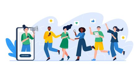 Referral system, refer a friend, a loyalty program. Group of people or customers are holding phones and join invitations. Trendy vector illustration for banners, landing page template, mobile app.  イラスト・ベクター素材