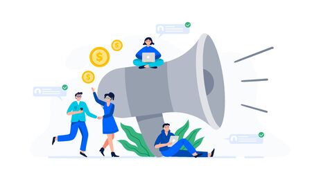 A concept with a group of people with smartphones near a giant megaphone. Refer a friend or referral marketing concept. Trendy flat vector illustration for banners, landing page template, mobile app.  イラスト・ベクター素材