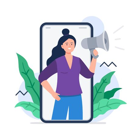 A woman shouting megaphone. Refer a friend concept. Referal marketing. Trendy flat vector illustration for banners, landing page template, mobile app.
