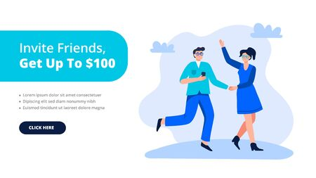 Refer a friend or referral marketing concept. A woman and man are shaking hands. Social media marketing for friends. Trendy flat vector illustration for banners, landing page template, mobile app.