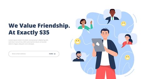 Refer a friend concept. A young man holding a phone with a list of his friends contacts. Trendy flat vector illustration for banners, landing page template, mobile app.