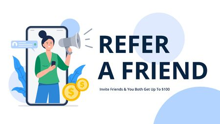 A woman shouts into a megaphone to attract friends. Refer a friend or referral marketing concept. Social media marketing. Flat vector illustration for banners, landing page template, mobile app.  イラスト・ベクター素材