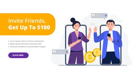 A couple of friends give a high five. Refer a friend concept. Social media marketing for friends. Trendy flat vector illustration for banners, landing page template, mobile app.