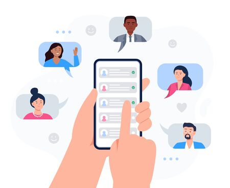 Hands holding a phone with contacts of friends. Refer a friend concept. Social media marketing for friends. Trendy flat vector illustration for banners, landing page template, mobile app.