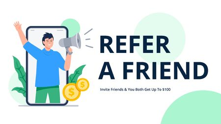 A man shouts into a megaphone to attract friends. Refer a friend or referral marketing concept. Social media marketing. Trendy flat vector illustration for banners, landing page template, mobile app.
