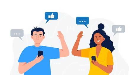 A happy man and woman give a high five. Refer a friend concept. Social media marketing for friends. Trendy flat vector illustration for banners, landing page template, mobile app.