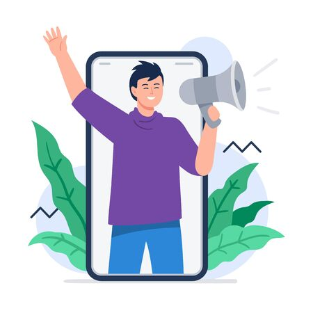 A man shouting megaphone. Refer a friend concept. Referal marketing. Trendy flat vector illustration for banners, landing page template, mobile app.