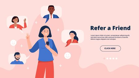 Refer a friend concept. A young woman holding a phone with a list of her friends contacts. Trendy flat vector illustration on pink background for banners, landing page template, mobile app.  イラスト・ベクター素材