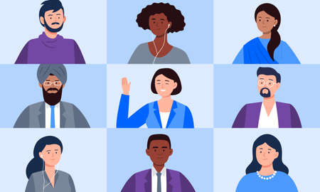 Multiethnic group of people meeting online with a video conference. Video calling with friends or colleagues, working from home, and working from anywhere. Trendy flat vector illustration.