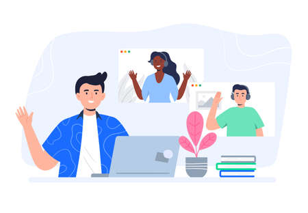 A boy speaks on the laptop with friends. Video conference, online chat concept. Working or online meeting from home. Trendy flat vector illustration.