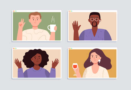 Online party with friends at home. Happy women and men meet online on quarantine. Stream, web chatting, video conference, or online meeting concepts. Trendy flat vector illustration.
