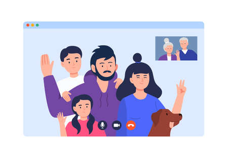 A family speaks in video chat. Mother, father, daughter, son, grandmother, and grandfather meeting online on the quarantine. Video conference from anywhere. Trendy flat vector illustration.