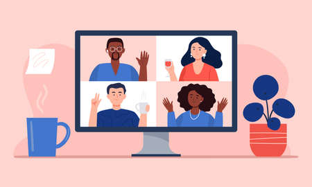 Video conference with friends at home. Stream, web chatting, online party, or online meeting concepts. Workplace, quarantine isolation. Trendy flat vector illustration. Векторная Иллюстрация