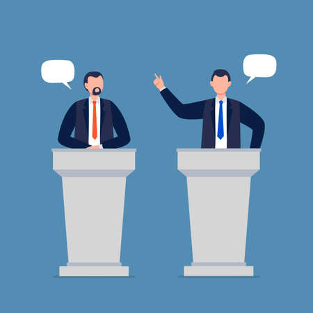 Male candidates taking part in debates. Pair of government workers talking to each other, discussing problems, or having a dispute. Flat vector illustration. Vektorgrafik