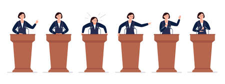 A female politician has a speech on the tribune. Different emotions of a political candidate. Public speaking concept. Vector character in cartoon style.