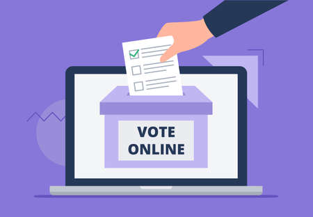 A man throws a letter to the box. A hand with a voting letter. Online voting concept, electronic voting, electoral internet system. Flat vector illustration. Vectores