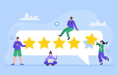 People are giving five stars for product, service. Customer satisfaction ratings and feedback. User experience feedback concept. Trendy vector flat illustration.