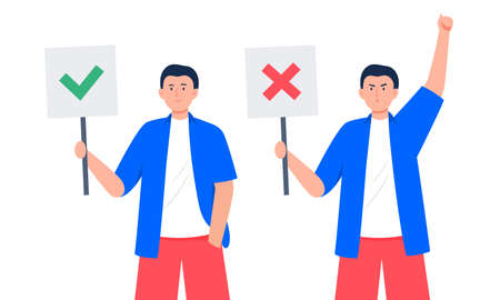 Young men with different emotions hold banners. Agreeing and disagree signs. Support and disagreement concept. Trendy vector flat illustration.
