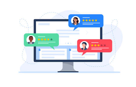 Feedback customers review on a computer monitor. People evaluating product, service. Website rating feedback concept. Trendy vector flat illustration. 矢量图像