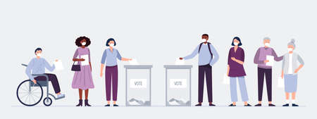 Voters in masks casting ballots at the polling place. Men and women putting paper ballots to election box. Election during a pandemic. Vector flat illustration.