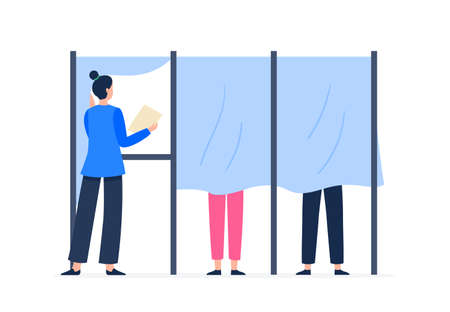 A woman stands in the voting booth. Voting and election concept. Democratic election. Vector flat illustration.