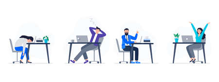 Concepts with people at work. Women and men are working with different emotions. Tired and energetic workers. Vector flat illustration.