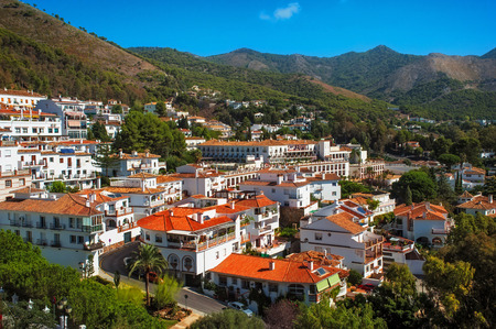 spanish village: White Spanish village Mijas. Village situated in the lowlands of the Sierra de Mijas mountain range and surrounded by pine forest. Stock Photo